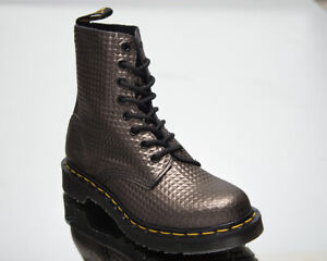 Dr. Martens 1460 Pascal Gunmetal Studded Leather Women's Casual Lifestyle Shoes