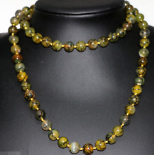 New 8mm Natural Stone Yellow Dragon Veins Agate Round Long Chain Necklace 36""