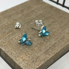 Aqua Butterfly Crystal Titanium Post Stud Earrings US Seller Made in Korea