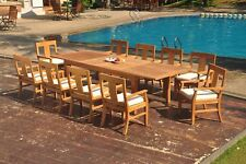 "11pc Grade-A Teak Dining Set 122"" Caranas Rectangle Table 10 Osborne Arm Chair"