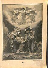Nativité Jésus christ Marie et Joseph Catéchisme en image Bible GRAVURE 1908