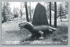 "Dimetrodon Dinosaur RPPC ""Prehistoric Zoo"" OSSINEKE MI Paleontology Photo 50s"