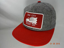 Vtg Gem City Ready Mix Snapback Patch Hat Red Gray K-Products Made In USA