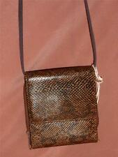 Brown Faux Leather Reptile Print Hipster Organizer Shoulder Bag