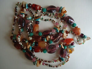 Stunning Semi Precious Agate Real Stones Necklace 48 inches 122cm