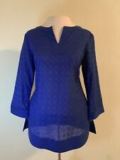 Brooks Brothers Small Top Blouse Royal Blue 3/4 Sleeve 3/4 Sleeve Eyelet W241