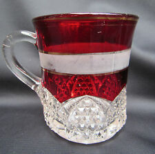 Ruby Stained EAPG Pattern Glass Button Arches Frosted Band Mug