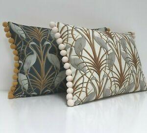 "Angel Strawbridge Cushion Cover Heron Fabric Escape Chateau 12x18"" Pom Pom Trim"