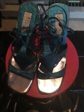Turquoise Tie Up The Leg Stilettos(Size9)