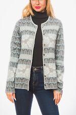 Oleana Norway Cardigan M Wool Silk Blend Light Blue Gray