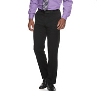 Dockers Modern Fit Men's  Flat Front Suit Dress Slacks Pants BLACK