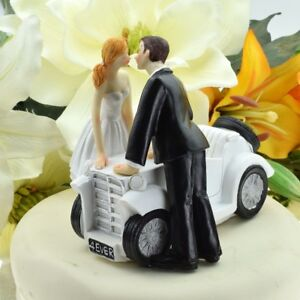 Newlyweds Couple Kissing by Car Bride and Groom Wedding Cake Topper