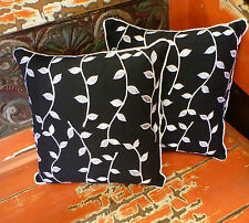 Cotton Cushion Covers Black White Hand Made Vines Embroidery (pair) 40cm