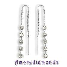 "0.70 ct G SI1 round diamonds by the yard eye glass bezel earrings white gold 2"""