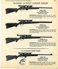 1969 Print Ad of Marlin Model 80-C 81-C 101 & 980 Rimfire Bolt Action Rifle