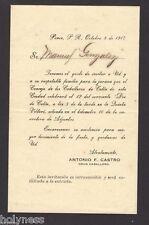 ANTIQUE INVITATION LETTER / CABALLEROS DE COLON / PONCE PUERTO RICO / 1917 RARE