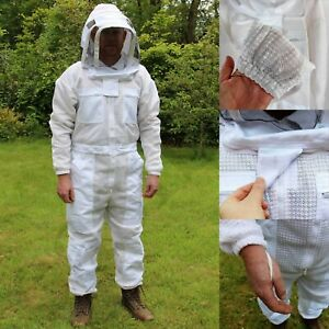 Ventilated 3 Layer Beekeepers Bee Suit Veil Beekeeping Protective Deluxe Safety