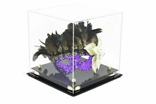 "Versatile Clear Acrylic Display Case with Gold Risers 10"" x 10""x 10"" (A028-Gr)"