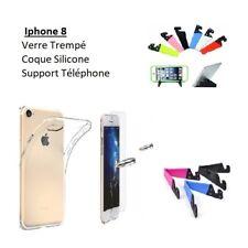 Accessoire Iphone 8, Coque Silicone Film Verre Support Téléphone