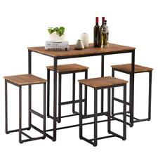 New 5 Piece Metal Dining Table Set W/ 4 Chairs Wood Dining Room Furniture Brown