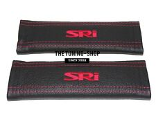 """2x Seat Belt Covers Pads Black Leather """"SRI """" Red Embroidery for Opel Vauxhall"""