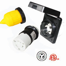 RV 30A 125V AC Inlet Female Locking Connector Plug w/ Weatherpoof Cover Boot
