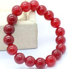 10mm Red Jade Round Beads Stretchy Bangle Bracelet