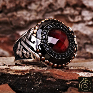 Red Ruby Men Cocktail Ring Antique Silver Protection Eternity Band Magic Jewelry
