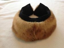 Ladies Vintage Real Fur collar With Metal Button and Eyehook Closure EUC CLEAN
