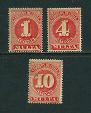 3 Postage Due Stamps - Chile 1898 MH