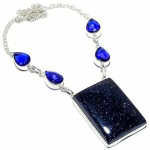 """Blue Sunstone & Sapphire 925 Sterling Silver Necklace Jewelry 17.99"""" S191"""