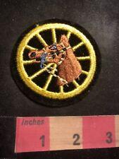 Equestrian Wagon Wheel BROWN HORSE Patch 91J