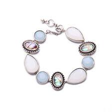 WHB467 White Chapel Bridal Lake Blue Moon Stone Oyster Shell Crystal Bracelet US