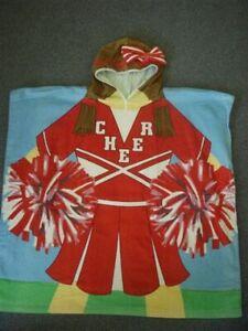Kids Hooded Poncho Towel Girls Cheerleader - Large