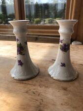 More details for pair of vintage porcelain candle stick holders white purple and gold rim
