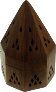 """Madina Cone Shaped Box Ash Catcher Incense Holder [Brown - 4.75"""" x 3""""]"""