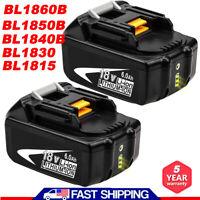 2X For Makita BL1860B-2 LXT 18V Li-ion Battery 6AH BL1850B BL1830 BL1840B BL1815