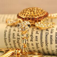 Brown Turtle Fashion Keychain Rhinestone Crystal Charm Insects Cute Gift 01169