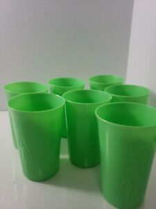 Vintage Lot of 7 STANLEY HOME PRODUCTS Plastic  Cups ~Green 3 3/4""