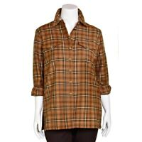 Escada Margaretha Ley Long Brown Plaid 100% Wool Button-Up Shirt Top sz 38/8 US