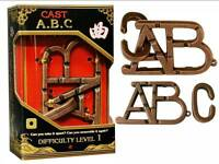 HANAYAMA L1 CAST PUZZLE ABC METAL BRAIN TEASER MIND BENDER NOVELTY TRICK TOY