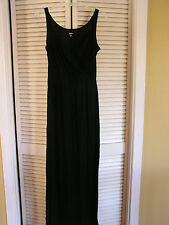 Mossimo Dark Black Long Maxi Dress Wrap Top Wide Elastic Waist Band Womens Small