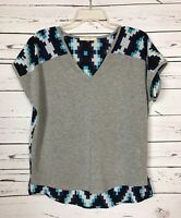 Pomelo Stitch Fix Women's XS Extra Small Gray Blue Short Sleeve Top Shirt Tee