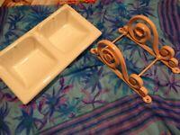 blanc,beau  porte savon double céramique =33x18cm+fer forgé laqué rose