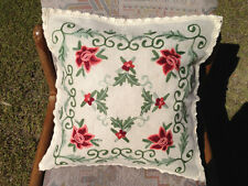 Chic Hand Embroidery Flower Linen Cushion Cover 45cm