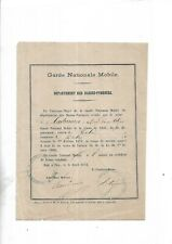 1872. Garde Nationale Mobile. Certificat. Pyrénées-Atlantiques. Militaria. Rare+