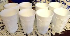 Colony Harvest SET OF 8 LARGE MILK GLASS TUMBLERS W/ GRAPE VINES MINT/VINTAGE