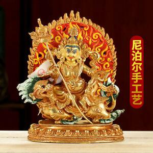 "8"" Tibetan Buddhism copper gilt Coloured Painting vaishravana Mammon lion statue"