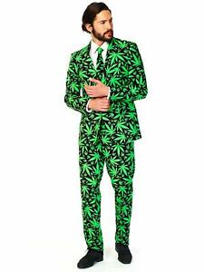 OppoSuits Men's Cannaboss Party Costume Suit Black/Green 42