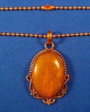 "Allurling Bloodstone Jasper 1-3/4"" Solid Copper Pendant & 18"" Chain   BLON4C"
